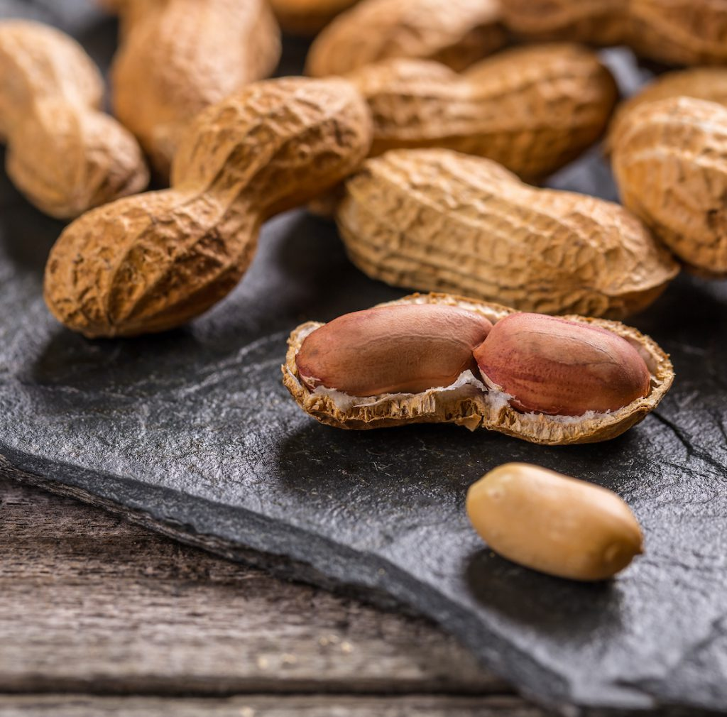 Peanuts in shells on stone background